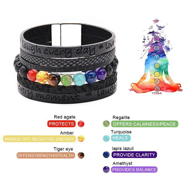 Fashion Multilayer Black Leather Rope Magnet Buckle Bracelet Natural Volcanic Stone 7 Chakra Bracelets Men Jewelry Women Gift Free DHL M222F
