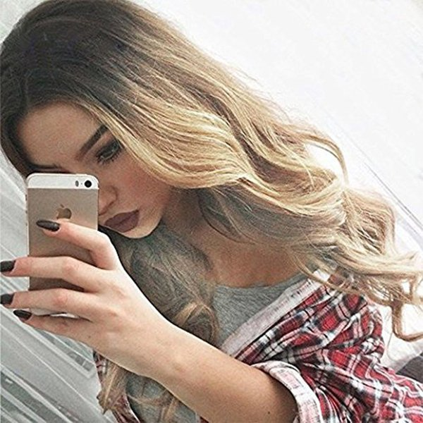 "Ombre Long Curly Wig Deep Wave Style Middle Part Heat Resistant Fiber Summer Wig Hair for Women Daily Use (Natural Length 28"" Blonde)"