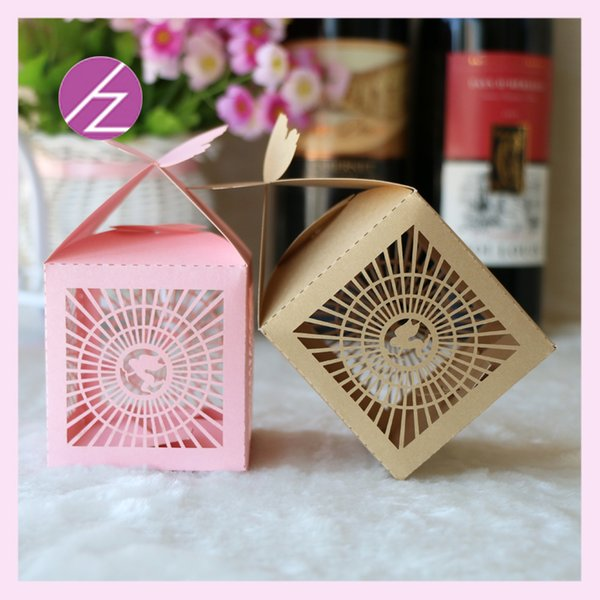50pcs/lot Fan Pattern Wedding Candy Boxes Fan Favor Holders Design With Ribbon 3D Butterfly Supply To Birthday Party Exquisite Boxes
