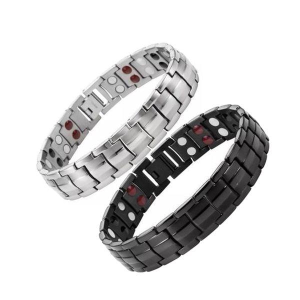 Bracciali da uomo Bracciale magnetico Guarigione energetica Doppi braccialetti con ciondoli maschili Gioielli moda donna Gioielli con bottone a pressione regolabile