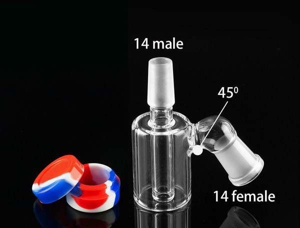 Glass Ash Catcher Bowls With with 10ML Silicone Container Glass Perc Ashcatcher Bowls Ash Catcher Bubbler Glass Adapter for Water Bong
