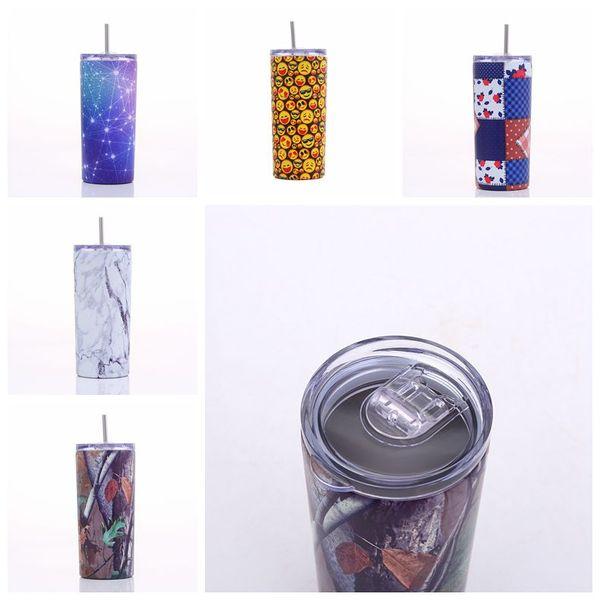 12oz copo reto canecas de aço inoxidável isolado caneca de viagem de vidro de vinho garrafas de água de vácuo céu estrelado carro xícaras com canudos CCA11773 50pcs