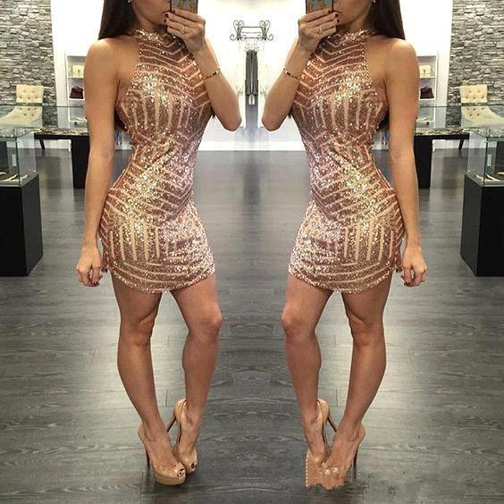 Rose Gold Sexy Sheath Cocktail Dresses Sequined Sexy Prom Dresses Halter Homecoming Gowns Mini Skirt Short Evening Party Gowns