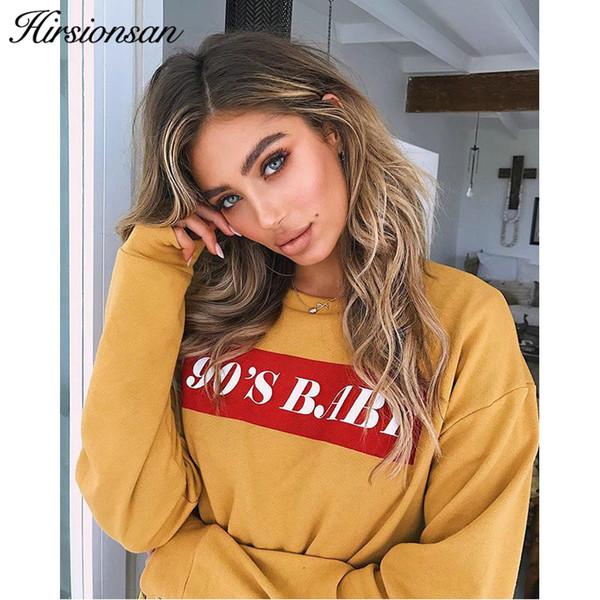 Hirsionsan Hoodies Sweatshirt Women 2019 90s Baby Harajuku Long Sleeve Black Pullovers Autumn Casual Crop Tops Moletom Feminino Y190916