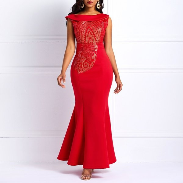 2019 Sequin Party Dress Elegant One Shoulder Sheath Bodycon Pleated Peplum Evening Party Tight Long Dresses