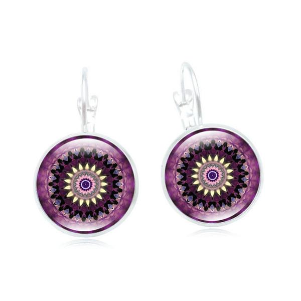 European and American new earrings Mandala flower time gemstone earrings retro French ear hook earrings jewelry wholesale