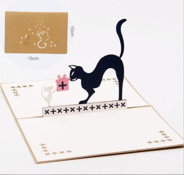 Children's gift 3D cat and mouse greeting card Valentines' Day Birthday handmade univisal greeting blessing card