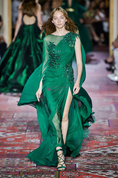 Zuhair Murad Otoño 2019 Moda de alta costura Vestidos de noche Manga larga Cuello redondo Gasa Barrido Tren Verde oscuro Ocasión formal Vestido de fiesta de graduación