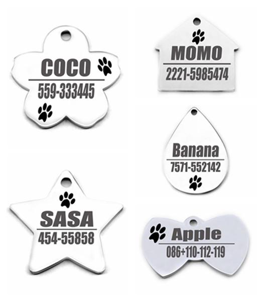 Etiqueta de nombre de perrito grabada personalizada anti perdida de acero inoxidable Teléfono sin perro Etiqueta de identificación de gato para accesorios de collar de perro