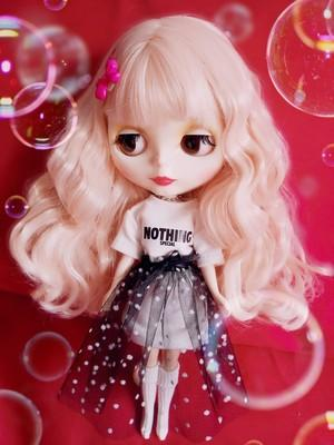 Handmade 2Pcs/set Fashion T-shirt+ Lace Dress for Pullip Doll Clothes 1/6 Fashion Clothing for Blyth Doll Accessories for Barbie