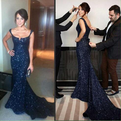 Gorgeous Navy Blue Prom Dresses Amazing Sequins Mermaid Pageant Gowns Sexy Back Sassy Formal Long Evening Dresses Custom