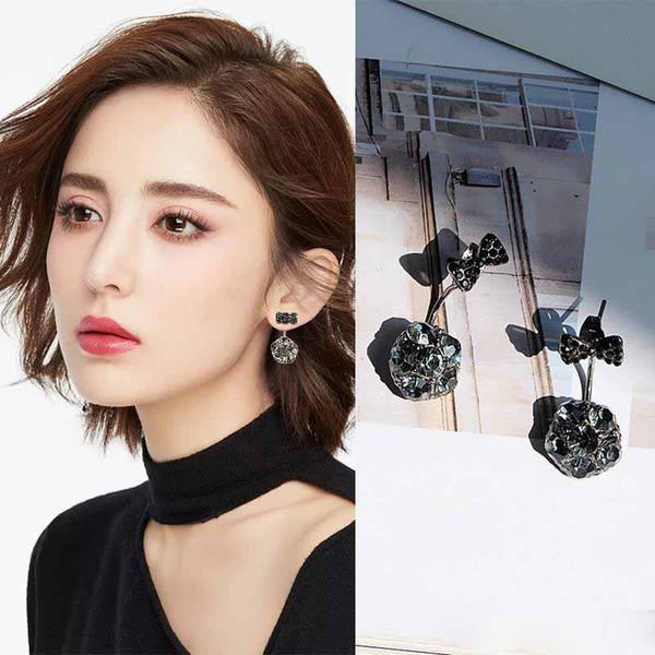 Aretes de arco Pendientes de diamantes simulados Joyería de moda Brincos Bowknot Bijoux Pendientes de cristal de imitación