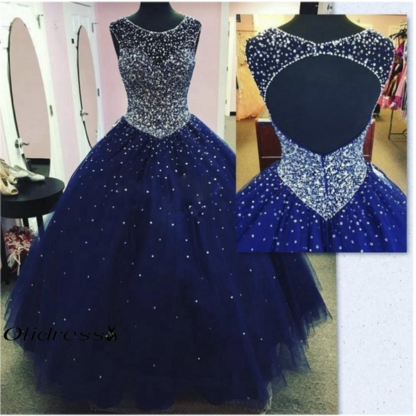 2019 Sheer Scoop Neck Ball Gown Quinceanera Dress Girls' Pageant Dresses Sexy Open Back Crystal Beaded Tulle Prom Gowns