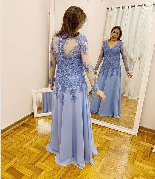 Compre Elegante Una Línea De Manga Larga Vestidos De Madrina Vestidos De Noche Formales Vestidos De Fiesta Para Mujer Apliques De Encaje Vestido De