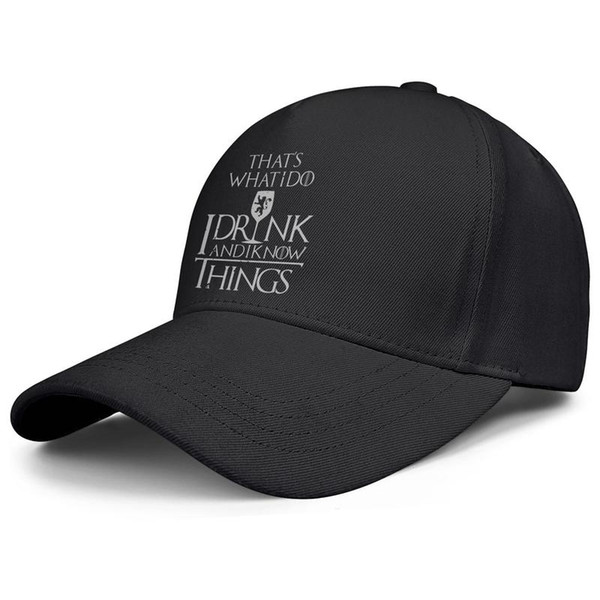 Womens Mens Plain Adjustable Game Of Thrones Mug That's What I Do I Drink And I Know Things Hip Hop Cotton Ball Cap Golf Bucket Hats Flat