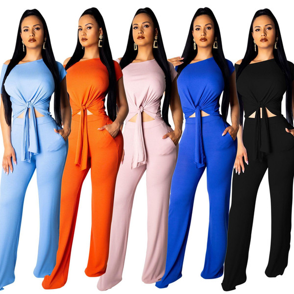 New women Summer knitted short sleeve Bandage crop tops sweater T-shirt +Wide leg Long pants Set suit 2 piece outfits for Ladies