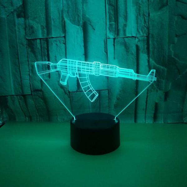 Novo Padrão Em Forma De Arma 3d Pequeno Night-light Usb Fonte De Alimentação Colorido Toque Led Visão Lâmpada Presente Atmosfera Decoração Pequena Lâmpada de Mesa