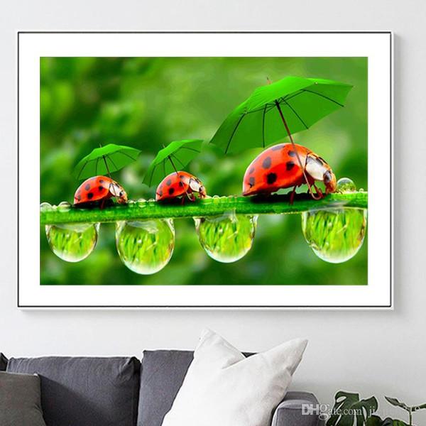 DIY5D diamond painting embroidery ladybug animal living room decoration painting mosaic green rain dew landscape insect full diamond new