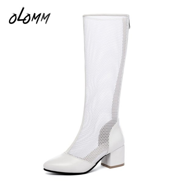 Woman Summer Autumn Hollow Long Knee-high Boots Air Mesh Hollow Zipper High Square Heels Solid Ladies Plus Size Shoes Round Toe