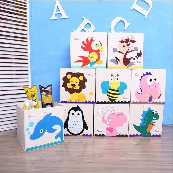 New 3d Cartoon Animal Embroidery Folding Box Washed Oxford Cloth Wardrobe Storage Bag Kid Toys Organizer 33*33*33cm Bins Q190603