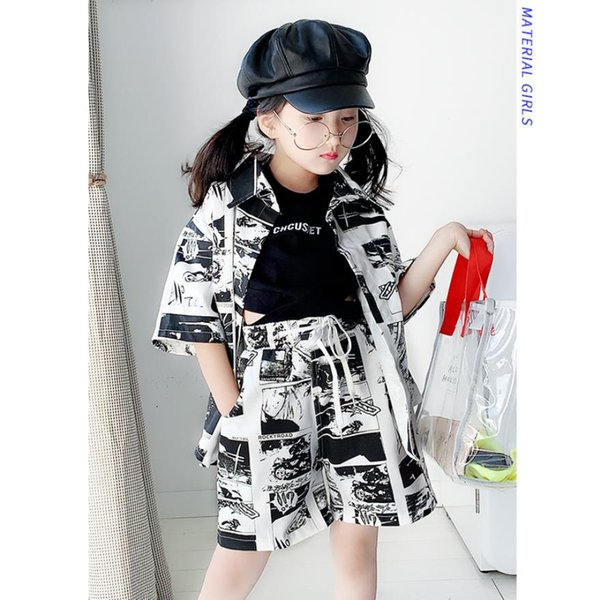 teenage hip hop dance clothes baby boy and girls print short sleeve + shorts 2pcs sets 4-14y for children clothes suits