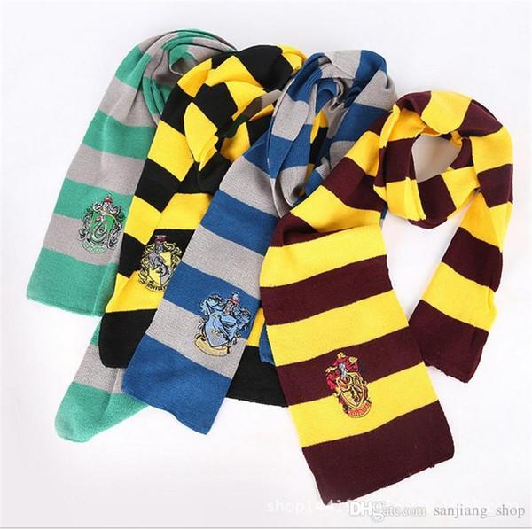 neue Harry Potter Schal Gryffindor Slytherin School Winter Strickschals mit Abzeichen Neckscarf Cosplay Kostüm gestreiften Schal Weihnachtsgeschenk