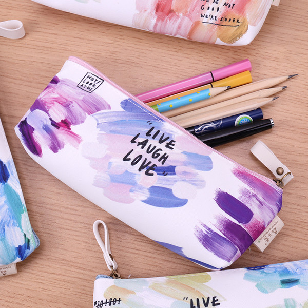 1PC Colorful Creative Brush Doodle Pencil Cases Kawaii Canvas School Supplies Stationery Pencil Bag Box for School Girl Gift