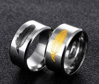 Hot sale new men fashion jewelry feather ring birthday festival new year gift
