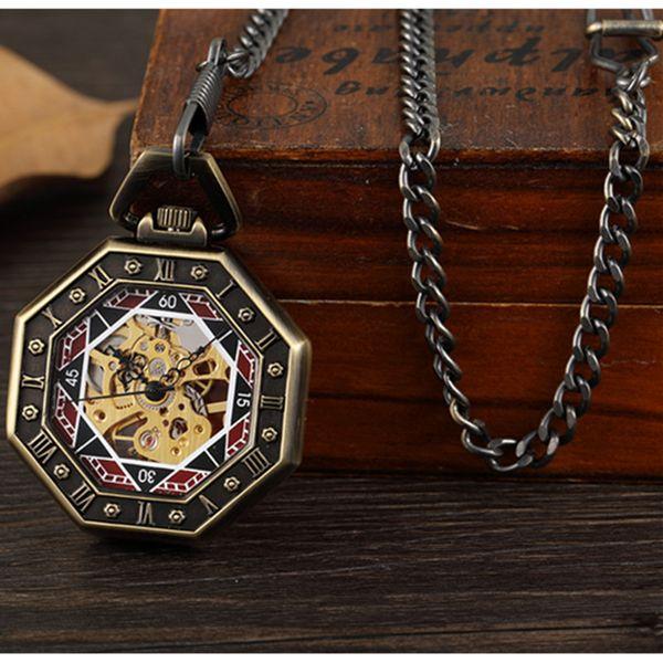 Gorben antigo Mecânica Pocket Watch Mão-Winding esqueleto Steampunk Relógio FOB Assista colar de pingente com corrente