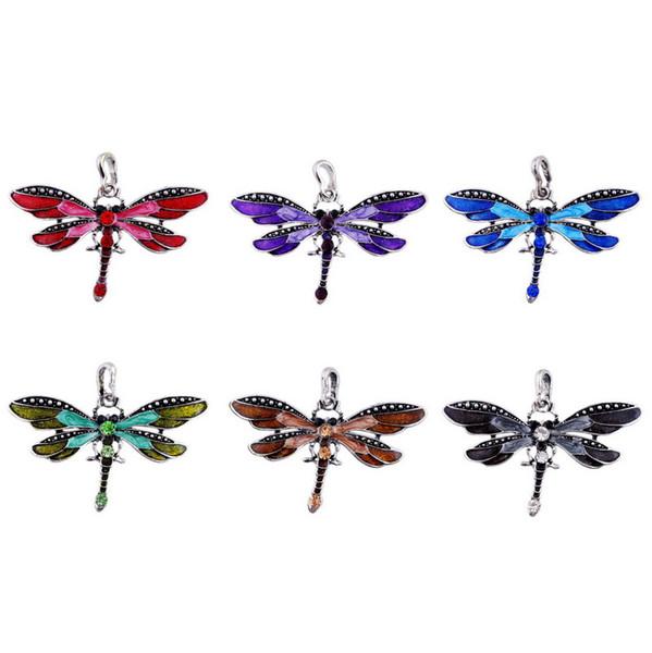 Mode Halskette Zubehör Libelle Legierung Strass Anhänger Anhänger