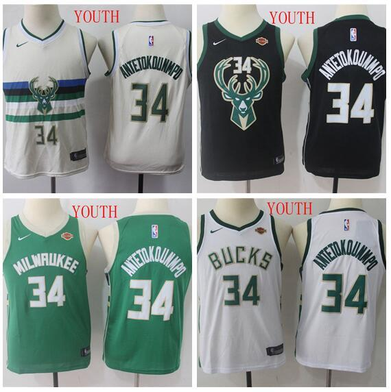 super popular 6d459 415c6 2019 Youth Milwaukee Giannis Bucks 34 Antetokounmpo White Green Swingman  Jersey Icon Edition From Gddjersey3, $19.09 | DHgate.Com