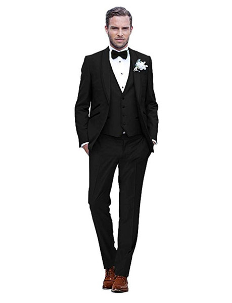 Men's Shawl Lapel 3 Piece Groom Tuxedos Groomsmen Wedding Suit Slim Fit Wedding Suit for Wedding Bussiness