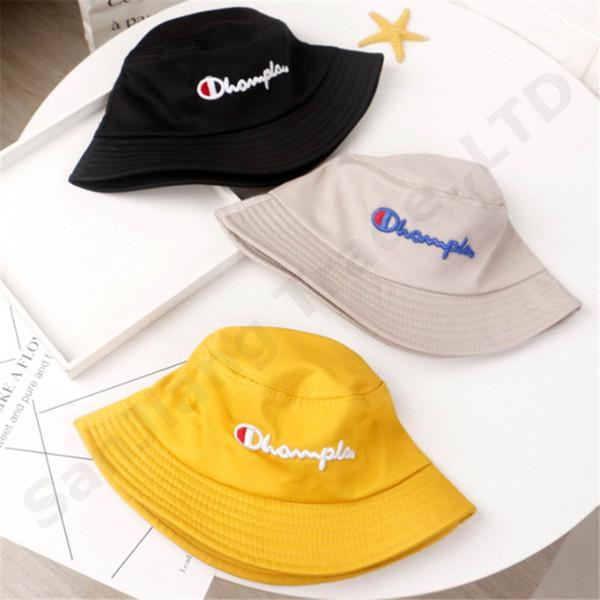 enfants chapeau champion broderie seau chapeau été casquettes broderie visière chapeaux de pêcheur garçons et filles en plein air bébé casquette de mode casual C3193