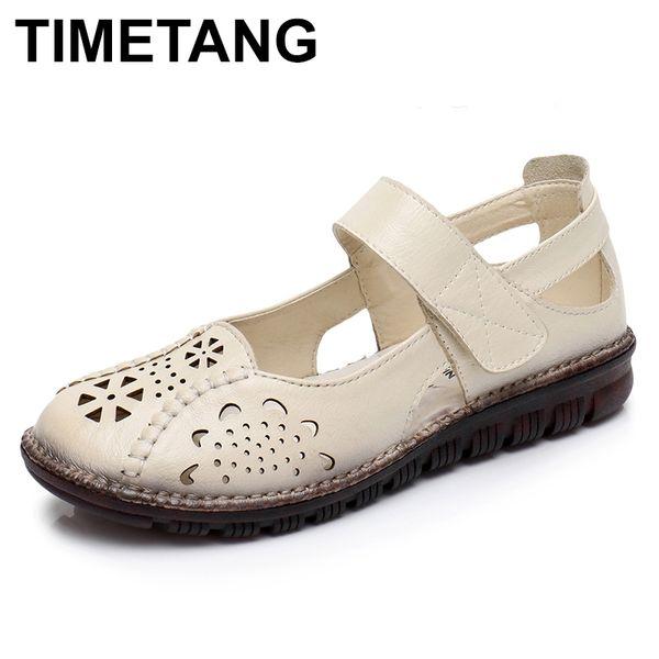 Toptan Yaz Ayakkabı Kadın Hakiki Deri Yumuşak Taban Kapalı Toe Sandalet Rahat Düz Kadın Ayakkabı Yeni Moda Kadınlar