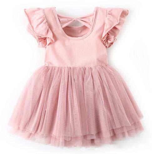 Fille exquise enfants vêtements de créateurs été col rond rose couleur maille sans manches Design haute qualité 100% coton bébé enfants robe de princesse