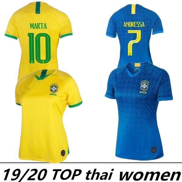 2019 Brasilianische Frauenfußball-Trikots nach Hause Brasilien MARTA ADRIANA DEBINHA ANDRESSA 19 20 Trikot 2020 Fußballtrikots