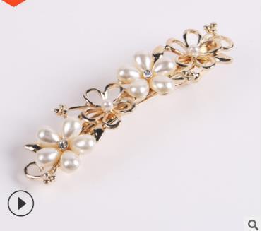Hair accessories girl new pearl flower hair clip spring clip