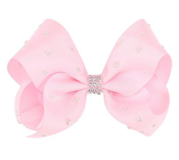 5 Inch Bows Rhinestone Screw Ribbon Girls Bows Pearl Ceramics Hairpins Solid color bow Barrettes Girls Christamas Small Gifts