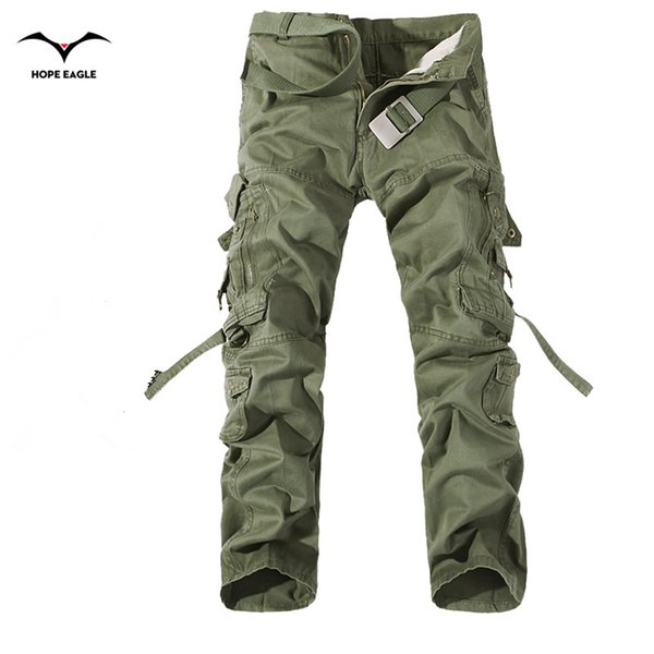 2019 New Men Cargo Pants army green big pockets decoration mens Casual trousers easy wash male autumn army pants plus size 42MX190904