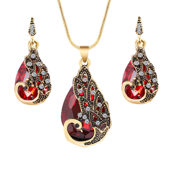 Luxurious peacock pendant necklace earrings jewelry set new arrival fashionable trend high end vintage jewelry accessories