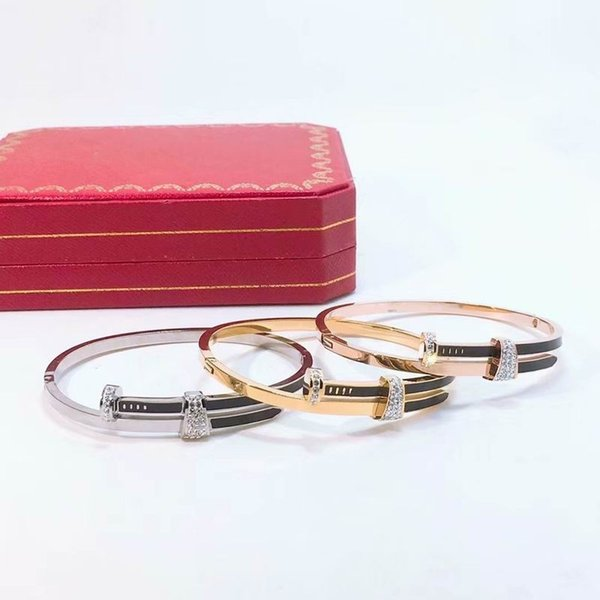 2019 new luxury high quality stainless steel rings set with silver diamonds Bangle adjustable bracelet with box and dast bag