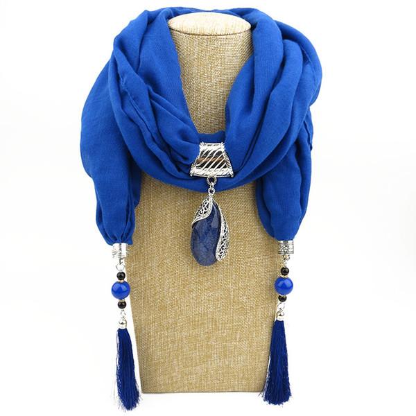 Cotton and hemp minority style necklace drop gem tassel scarf new style neckline women's Bali gauze pendant jewelry scarf