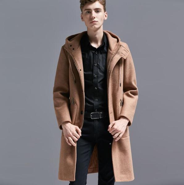 Hooded casual woolen coat men trench coats long sleeves Single-breasted overcoat mens cashmere coat casaco england zipper khaki