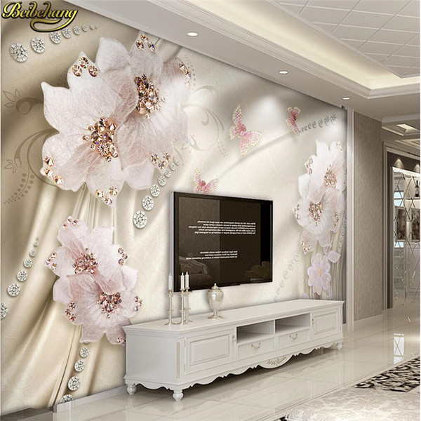 Custom photo wallpaper wall murals wall stickers luxury diamond flowers 3d jewelry TV wall murals papel de parede