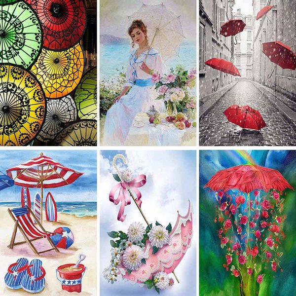 5d Diy Diamond Painting Umbrella Diamant Painting Flower Scenery Diamond Embroidery Cute Girl Oil Art Mosaic Home Decor Gift X80