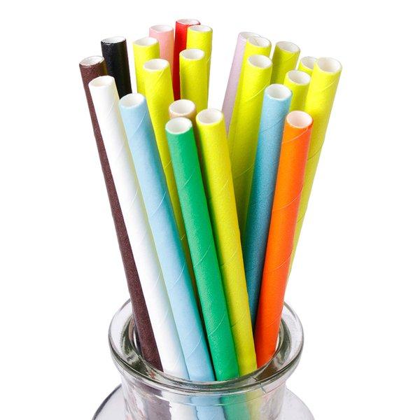 50PCS Pure Color Одноразовая соломинкой Свадебные принадлежности Birthday Party Event украшения кухни Бар напитки Бумага Стро