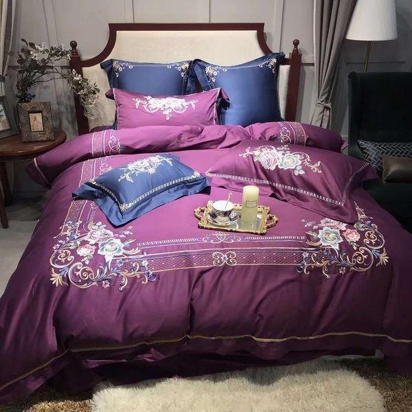 60s Egyptian cotton Baroque high-end embroidery comfortable bed set RUIYEE King set bedding duvet cover sheets pillowcase