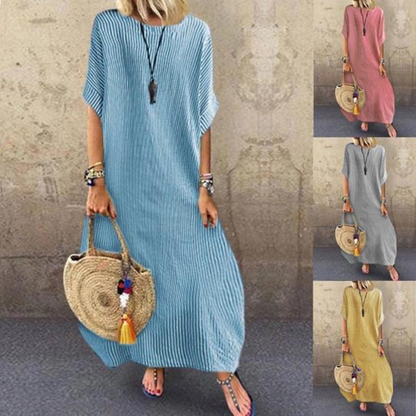 Causal Demi Manches Rayées Femmes Robes Ras Du Cou Robes Longues Eté Solide Vêtements Pour Femmes