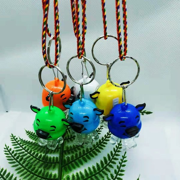 Small toys LED key chain lights flashing pig pig children hanging neck necklace activities gifts