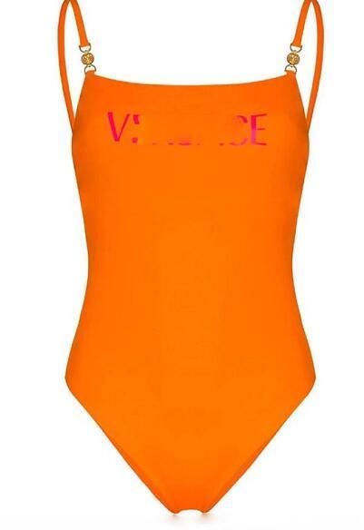 Orange maillot de bain une pièce